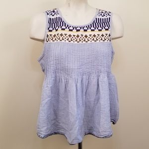 Lucky Brand Bohemian Smocked Tank Top L